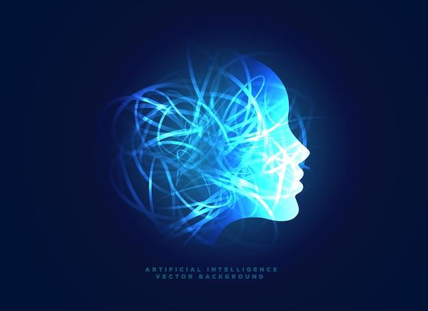 Visage bleu lumineux avec le chaos des lignes