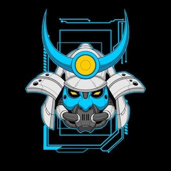 Visage bleu mecha samurai