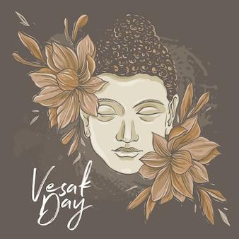 Visage de bouddha avec fleur de lotus de couleur marron
