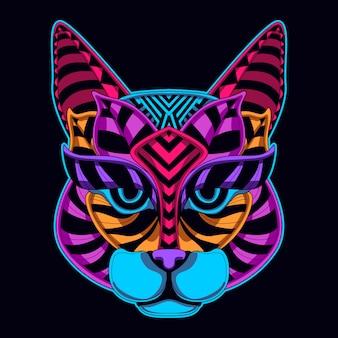 Visage de chat couleur néon