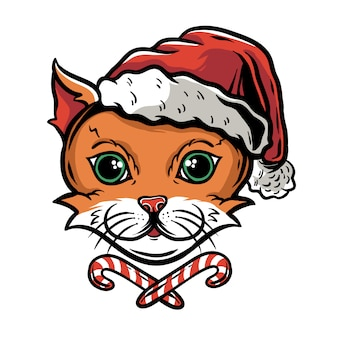 Visage de chat drôle mignon en chapeau de père noël avec des bonbons de noël