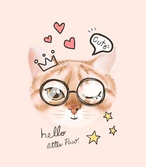 Visage de chat mignon dans des verres et des icônes de coeur illustration