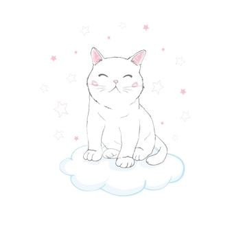 Visage de chat mignon dessiné à la main