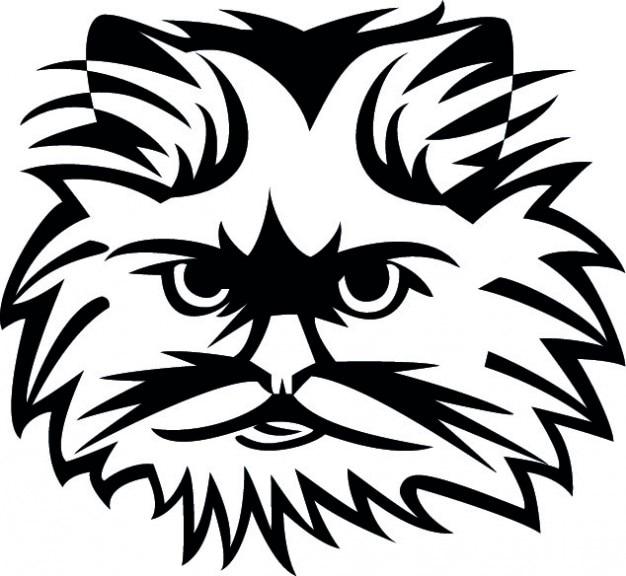 Visage de chat en noir et blanc