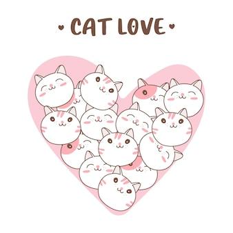 Visage de chats de dessin animé mignon en forme de coeur pour la saint-valentin.