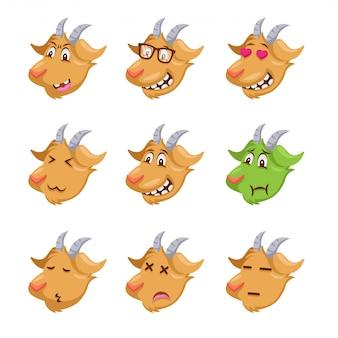 Visage de chèvre mignon emoticon emoji illustration de l'expression