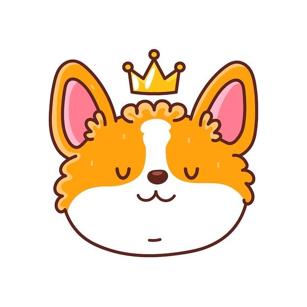Visage de chien corgi heureux mignon avec couronne