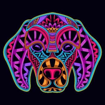Visage de chien de couleur néon