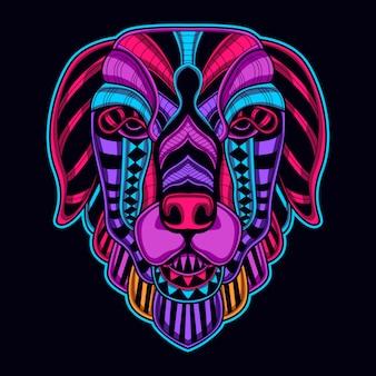 Visage de chien en couleur rougeoyante rétro