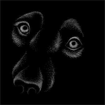 Visage de chien ou de loup.