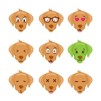 Visage de chien mignon emoticon illustration de l'expression emoji