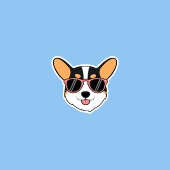 Visage de chien tricolore corgi mignon avec dessin animé de lunettes de soleil
