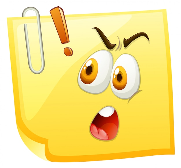 Visage choquant sur du papier jaune