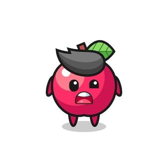 Le visage choqué de la mascotte de pomme mignonne, design de style mignon pour t-shirt, autocollant, élément de logo