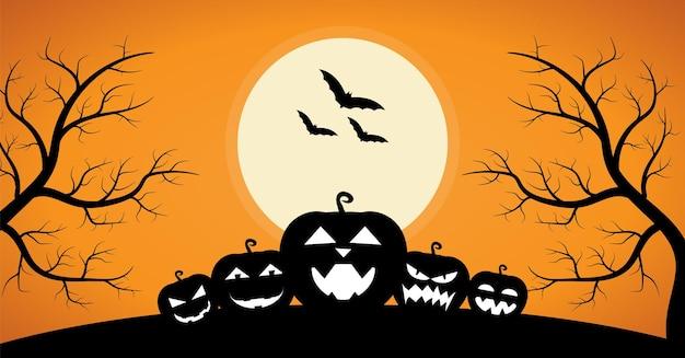 Visage de citrouille avec fond d'halloween arbre de la mort