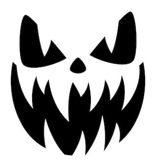 Visage de citrouille d'halloween. les dents pointues et effrayantes sourient.