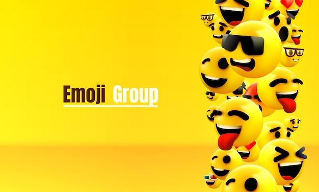 Visage clignotant jaune groupe emoji