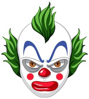 Visage de clown effrayant sur fond blanc