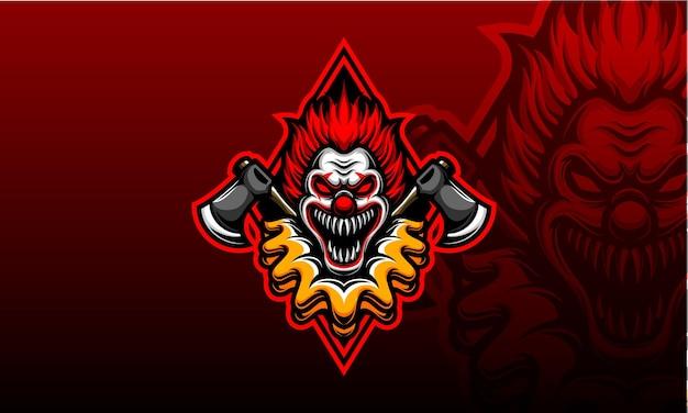 Visage de clown effrayant avec logo hache