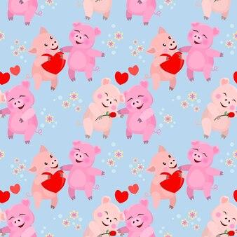 Visage de cochon mignon avec motif sans soudure de forme de coeur.