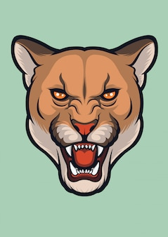 Visage en colère cougar, puma concolor