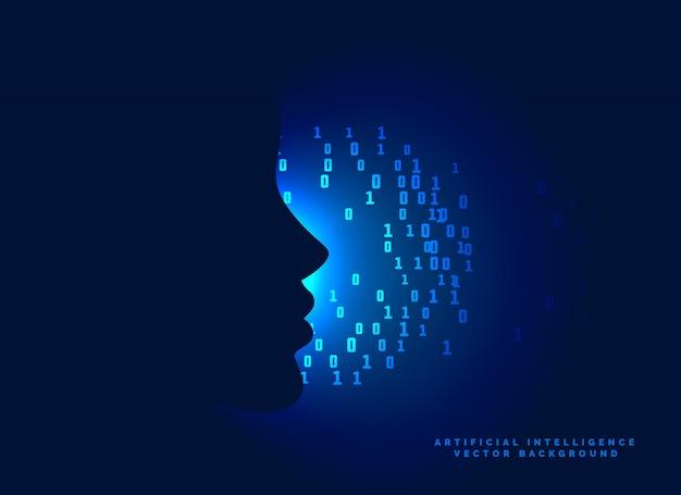 Visage concept avec des nombres binaires sur fond bleu lumineux