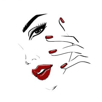 Visage contour avec des lèvres et des ongles rouges
