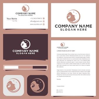 Visage avec création de logo de feuille vector cosmetic logo et carte de visite premium