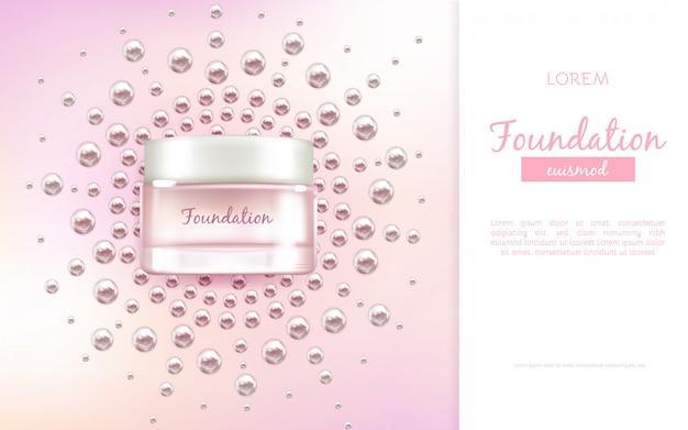 Visage crème hydratante ou essence bannière de publicité vecteur réaliste 3d