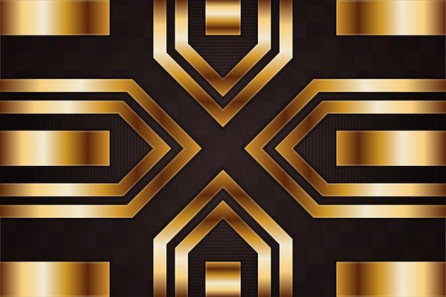 Visage croisé avec fond premium dégradé noir et or avec éléments géométriques dorés de luxe.