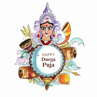 Visage de la déesse durga dans le fond de carte heureux durga puja