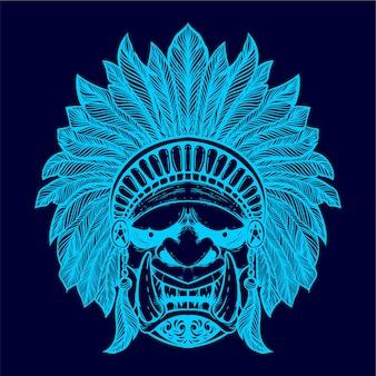 Visage de démon avec chapeau ethnique