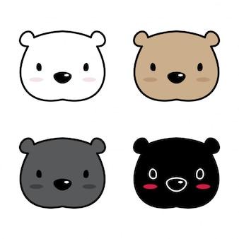 Visage de dessin animé polaire vecteur ours