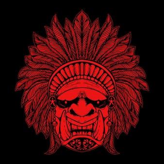 Visage de diable avec chapeau ethnique