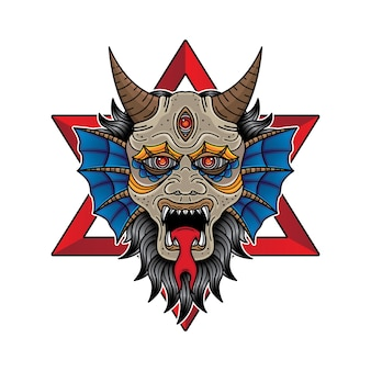 Visage diable flash design de tatouage