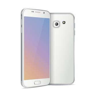 Visage et dos de smartphone blanc