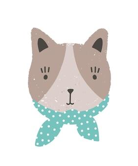 Visage drôle de chat. beau museau de dessin animé de chaton portant un foulard isolé sur fond blanc. tête d'animal domestique mignon. illustration vectorielle moderne dans un style plat pour l'impression de vêtements pour bébé.
