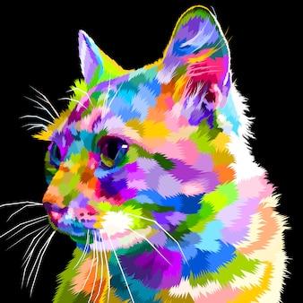 Le visage du chat coloré regarde de côté