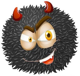 Visage du diable sur une balle moelleuse