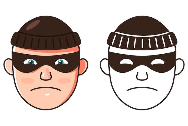 Le visage du voleur. deux options de couleur et contour. illustration vectorielle et icône