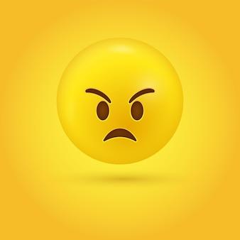 Visage d'emoji en colère grincheux - personnage 3d