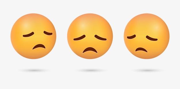 Visage d'emoji déçu 3d avec les yeux fermés ou l'émoticône triste avec des émotions de regret de stress de chagrin