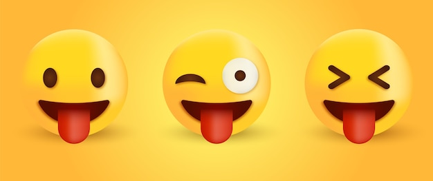 Visage emoji avec la langue émoticône visage fou