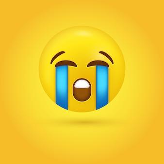 Visage emoji qui pleure bruyamment dans l'émoticône moderne - pleurer de larmes tristes