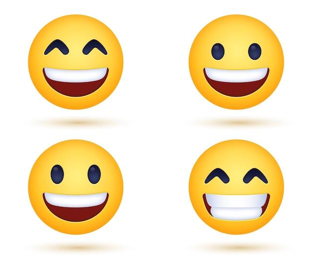 Visage d'emoji rayonnant souriant avec des yeux souriants ou des émoticônes de sourire heureux montrant les dents
