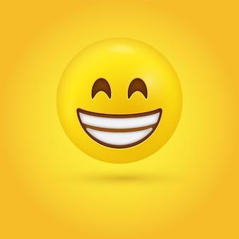 Visage émoji rayonnant avec des yeux souriants et un sourire plein de dents ou un grand sourire ouvert - personnage 3d