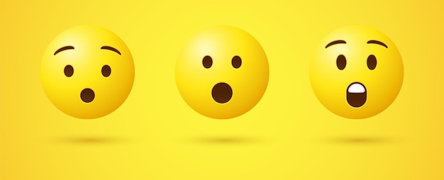 Visage emoji surpris avec la bouche ouverte en 3d ou émoticône choqué étonné