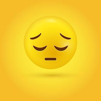 Visage emoji triste pensif ou émoticône déçu 3d