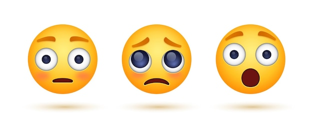 Visage emoji triste avec des yeux suppliants avec une émoticône choquée