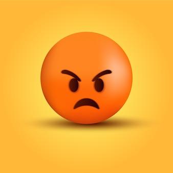 Visage d'émoticône en colère folle ou caractère emoji de haine